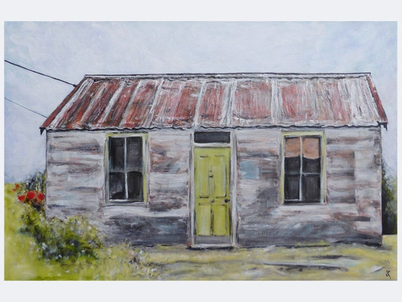 Tin Roof Rusted Original Painting On Stretched By Annacullart