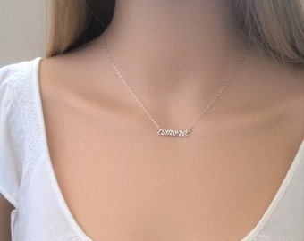 """AMORE necklace in sterling silver; """"love"""" in Italian; sterling silver love necklace; amore necklace silver"""
