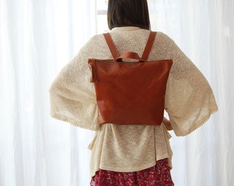 Brown large leather backpack, brown backpack for women, everyday brown bag, brown leather bag, everyday work bag