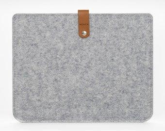 iPad Retina Case, Gray Felt iPad Case, iPad Retina Sleeve, Felt Leather iPad Case - Cover for Apple iPad Retina - Leather iPad Retina