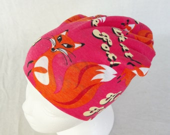 Fox hat beanie Toddler beanie Fox slouchy Fox beanie Children Baby Animal beanie Slouchy hat Girls hat Pink orange beanie Cotton jersey hat