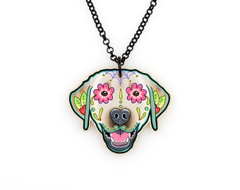 SALE Regularily 19.95 - Labrador Retriever in Yellow - Day of the Dead Sugar Skull Dog Necklace