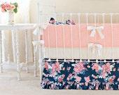 Navy Crib Bedding, Baby Girl Bedding, Navy Coral Nursery, Peach and Navy Crib Set, Custom Baby Bedding ,Stripe and Floral Nursery Decor