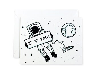 Astronaut I Love You Space Letterpress Card