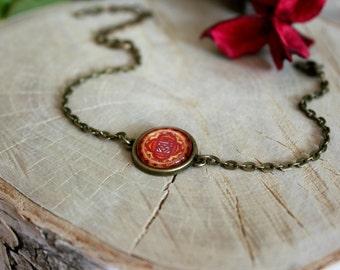 Muladhara Chakra Bracelet, Antique Bronze Bracelet, Glass Cabochon, Chain Bracelet