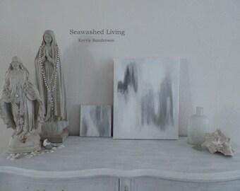 QUIET Original Painting 16 x 20 Archival Canvas French Nordic Living Seawashed Bohemian Zen Quiet Living Home Decor