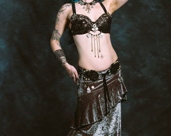Custom Lily Skirt- Tribal Fusion or Traditional Bellydance Sleek A-Line Skirt with Asymmetric Flounce