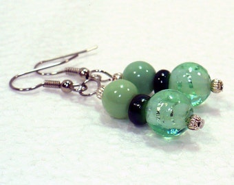 Green Glass Earrings - Retro Dangle Earrings with Lampwork Beads and Nickle-Free Earwires, Handmade in the USA, Ready to Ship