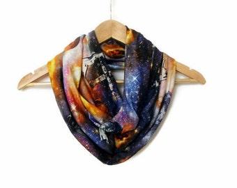 Galaxy Scarf Space Scarf Milky Way, Jersey Infinity Scarf Lightweight Cosmo Galaxy