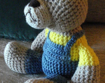 "Crocheted teddy bear stuffed animal doll toy ""Bubba"""