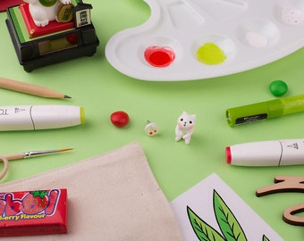 White Cat Earring | Cherry stud | Handmade & Handpainted | Summertime Collection