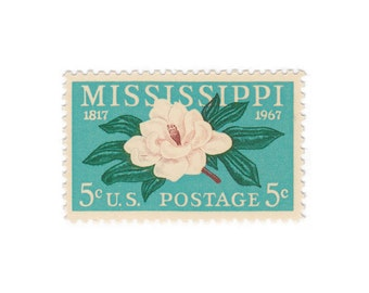 10 Unused Vintage Postage Stamps - 1967 5c Mississippi Statehood - Item No. 1337