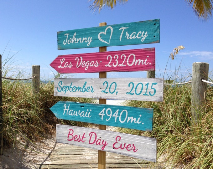 Beach Wedding Decor, Rustic Wood Directional Signage, Best Day Ever, Shoes Optional Ceremony Beach Sign