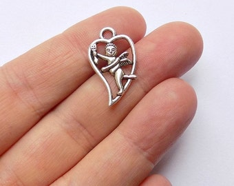 8 Cupid Charms - Valentine Day Pendants - Heart Charms - #S0164
