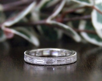 2.10 ct.tw Eternity Band Ring-Baguette Cut Diamond Simulants-Wedding Ring-Bridal Ring-Stackable Ring-Anniversary Ring-Sterling Silver [7718]