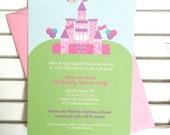 Princess party invitation, princess birthday party invitation, first birthday, royal ball party invitation, baby girl shower, set of 30