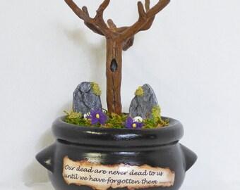 Miniature Cemetery Diorama - Gothic Miniatures - Memento Mori Art - Cauldron Cemetery Diorama - Death Art