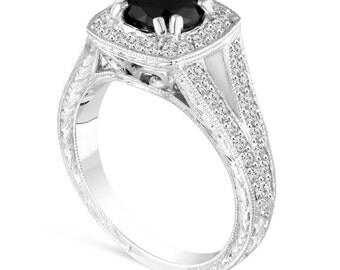 Platinum Vintage Style Black Diamond Engagement Ring, Wedding Ring Antique Style Hand Engraved 1.60 Carat Bridal Pave Halo Unique Handmade