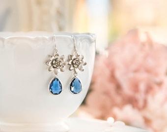 Bridesmaid Earrings Navy Blue Wedding Bridal Earrings Silver Lotus Flower Sapphire Earrings Bridesmaid Gift September Birthstone Jewelry