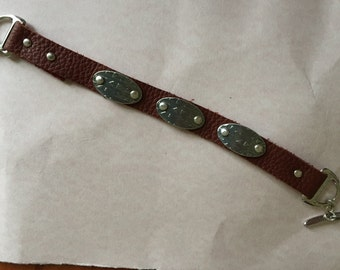 Leather Bracelet with Pewter