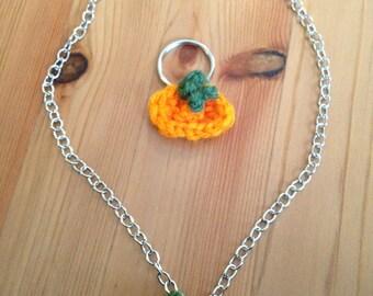 Crochet Pumpkin - Necklace or Keychain
