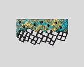 Brooch - modern, contemporary jewelry, FREE Shipping, unique, lasercut wood, polymer clay, Swarovski crystals, steel