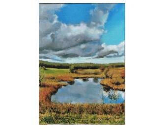Landscape Oil Painting, Scenic Oil Painting, Nature Oil Painting, Original Oil Painting, Lake Oil Painting, Plein Air Painting, Cloud Art