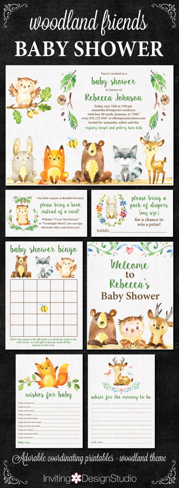 Woodland Baby Shower Invitation / PACKAGE / Woodland Theme / Invitations, Bingo, Welcome Sign, Diaper Raffle & More / PRINTABLE FILES