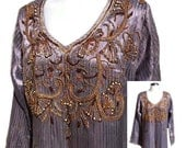 Long Ethnic Silk Evening Caftan Dress in Soft Purple with Hand Beading - Fits Size Small