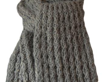 Hand Knit Scarf - Soft Grey Tweed Cable Rib Alpaca