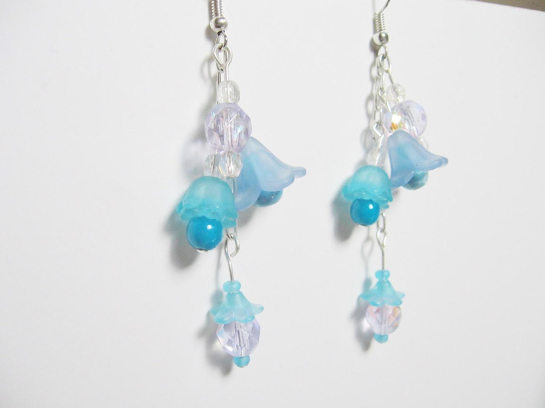 Blue Flower Earrings Flower Jewelry Blue Flowers Crystal