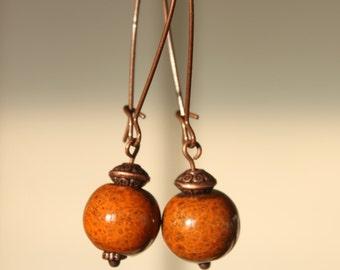 Orange Dusty Earrings Ceramic Earrings Dangle Earthy Earrings Boho Chic Earrings Porcelain Earrings Copper Jewelry Christmas gift Ideas