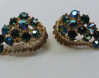 Vintage BSK Rhinestone Earrings Clip ons Gold tone Blue Green Aurora Borealis