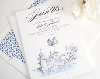 Little Mermaid Fairytale Wedding Inspired Rehearsal Dinner Invitations (set of 25 cards)
