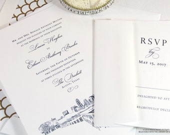 Austin Skyline Wedding Invitations Package (Sold in Sets of 10 Invitations, RSVP Cards + Envelopes)