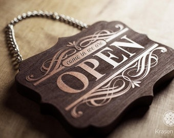 Shop Open-Closed Sign, Vintage style Wooden Open Closed Sign, Come In We're Open.  Shop window Open Closed sign.
