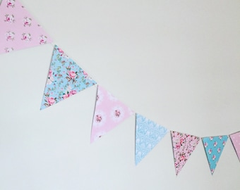 Vintage floral blue and pink party flag bunting