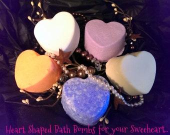 Heart Shaped Bath Bombs / Handmade / Artisian