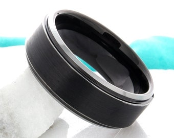 Tungsten Ring Black Wedding Band Mens Tungsten Carbide 8mm Black Tungsten Wedding Band For Him Anniversary Ring Promise Ring Comfort Fit