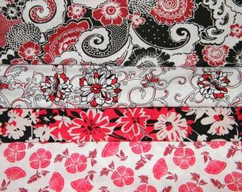 4 FQ Bundle – RED, BLACK & White Prints 100% Cotton Quilt Craft Fabric Fat Quarters