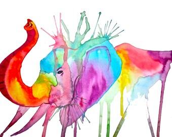 Rainbow Elephant, Original Art Print