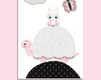 Print for nursery girl Kids Wall Art Nursery Decor Baby girl Room Art Nursery Art Decor turtle owl butterfly art pink black, birth gift.