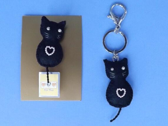 LUCKY BLACK CAT Purse Charm. Handbag Charm Key Ring or Brooch.