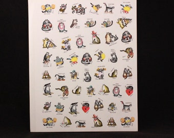Vintage 1980s Kliban Cat Appointment Stickers. 48 Unsealed Stickers on One Sheet. 2 Sheets Total