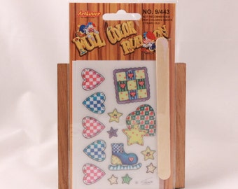 Vintage Art Lover Full Color Rub On Transfers Package. Hearts