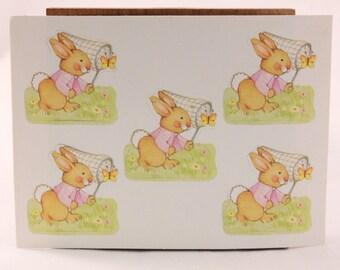 Sleeved Vintage Hallmark Bunny Rabbit. 4 Sheet Sticker Package.