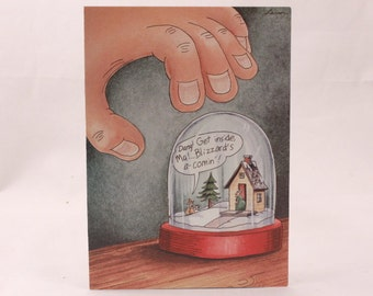 Vintage 1991 Gary Larson Far Side Greeting Card and Envelope. Blizzard