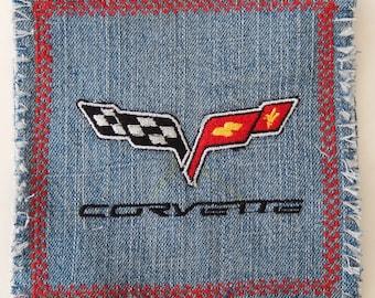 C6 Corvette Coasters-Corvette Mug Rugs-Embroidered C6 logo-denim fringy edge-unique gift for Corvette lovers-barware coasters-corvette stuff