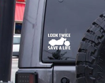 Motorcycle decal, Look Twice decal, Biker sticker, window decal, FREE SHIPPING, car sticker, vinyl decal, laptop decal, sticker decal #174