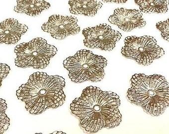CraftbuddyUS MF2-20pcs SILVER Filigree Metal Embellishments Flowers, Wedding Craft
